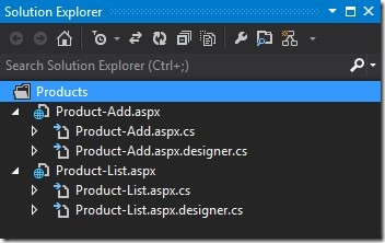 Visual Studio 2012-Multiple Solution Explorer Windows-Product Folder