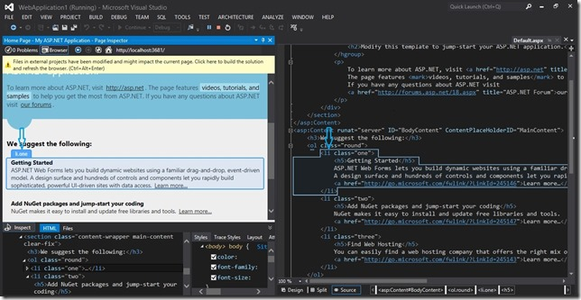 Visual Studio 2012-Page Inspector