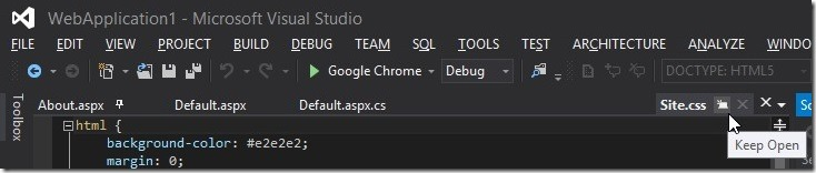 Visual Studio 2012-Preview Tab