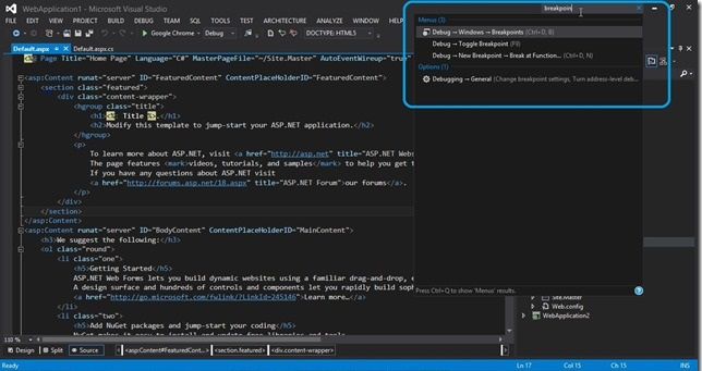 Visual Studio 2012-QuickLaunch2