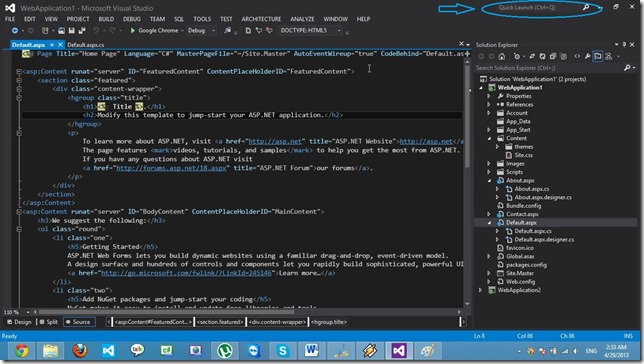 Visual Studio 2012-QuickLaunch